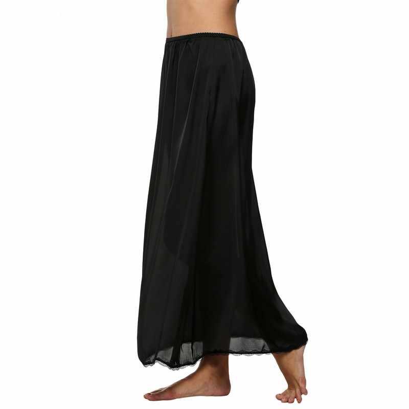 fdf7ea3d1b838 Women Half Slip Satin Trim Maxi Lace Underskirt Slip Summer Loose Elastic  Waist Underwear Black Petticoat Femme White XXL 610