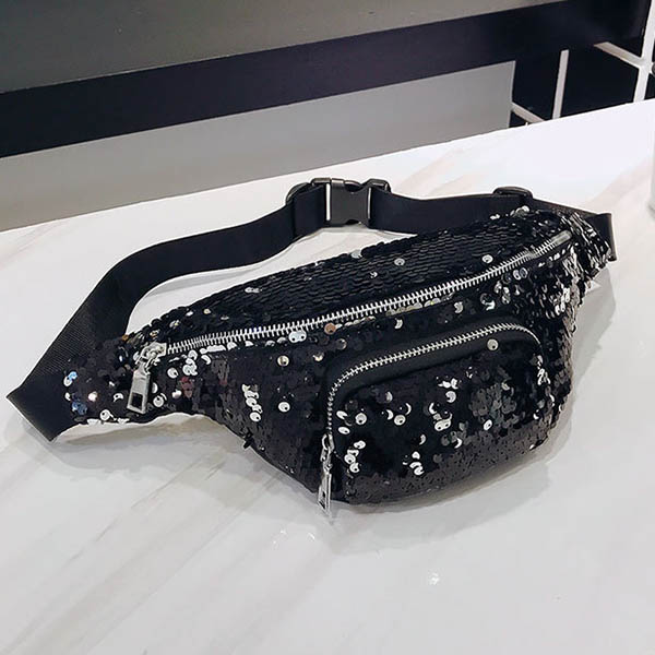 FGGS Unisex Waist Bags Activity Casual Fanny Pack Double Color Sequins Unisex Waist Pack Belt Bag Women's Waist Bag Bolsa