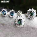 Genuine sapphire jewelry set 100% natural gem stone sets genuine solid 925 sterling silver white gold plated woman royal
