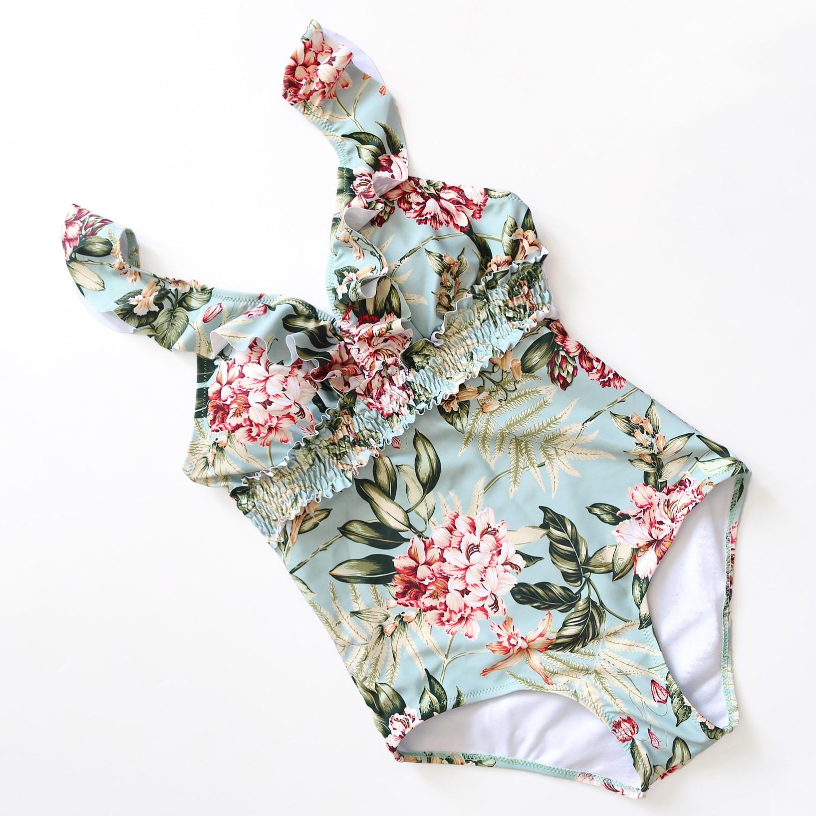 Sexy 2020 Lady Retro Floral Crinkle V Neck Ruffle Swimwear Women One piece Swimsuit Smock High Waist Bath Suit Monokini Trikini 5