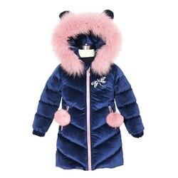 Новинка 2019, детская зимняя куртка для девочек, хорошее качество, утолщенная бархатная куртка с меховым капюшоном для девочек, модная верхня...