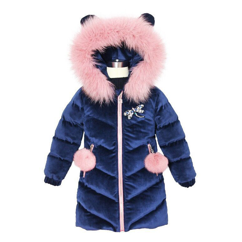 2019 New Children's Winter Jacket For Girls Good Quality Thicken Girls Fur Hooded Velvet Girls Fashion Jackets Outerwear 3-12Yrs