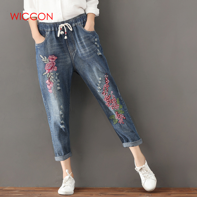 ef8949985d Detail Feedback Questions about Plus Size S 3XL Drawstring Women Jeans  Autumn Harem Pants Embroidery Floral Elastic Waist Vintage Trousers New  Ripped Jeans ...