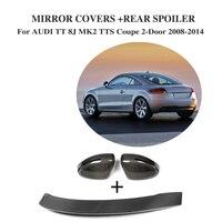 Carbon Fiber Side Door Rearview Mirror Covers Rear Duck Spoiler for AUDI TT 8J MK2 TTS 2-Door 2008-2014 3PCS/Set