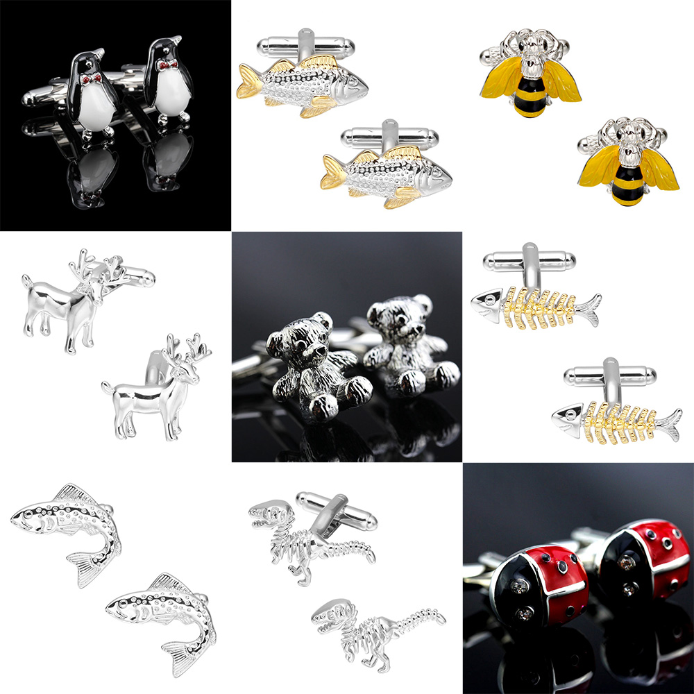 Memolissa Cute Animal Cufflinks 18 Styles Fish/Penguin/Lobster/Deer/Bear Design Men's Shirt Cuff Links Exquisite Gift For Men