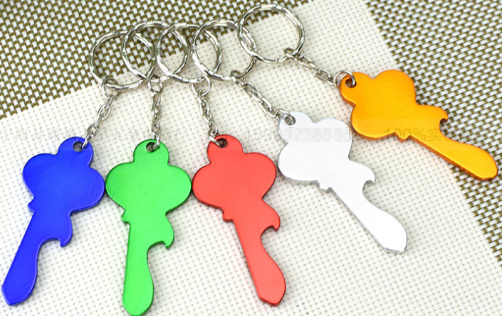 by DHL or Fedex 300pcs car key ring Keychains Key Shaped Beer Can Opener Tools Keyring