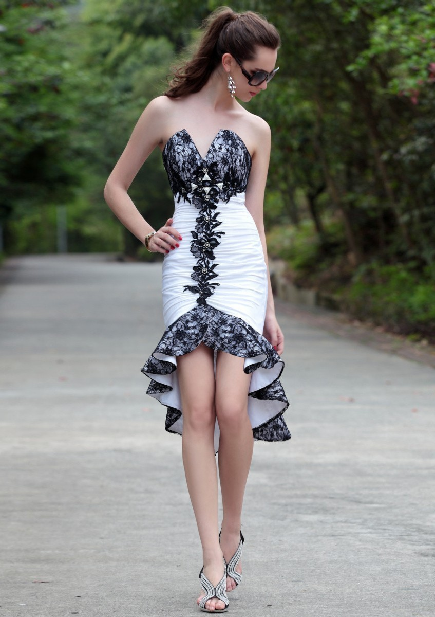 asymmetrical_white_sleeveless_v-neck_taffeta_black_lace_prom_dress-1
