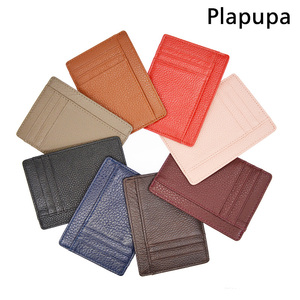 Cowhide Genuine Leather ID Card Holder Plus Size Litchy Grain Candy Color Card Cover Multi Slot Slim Card Case Custom NAME LOGO