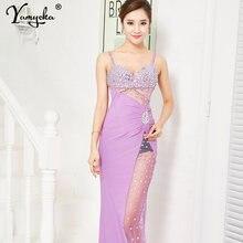 Сексуальное летнее платье с блестками и бриллиантами длинное
