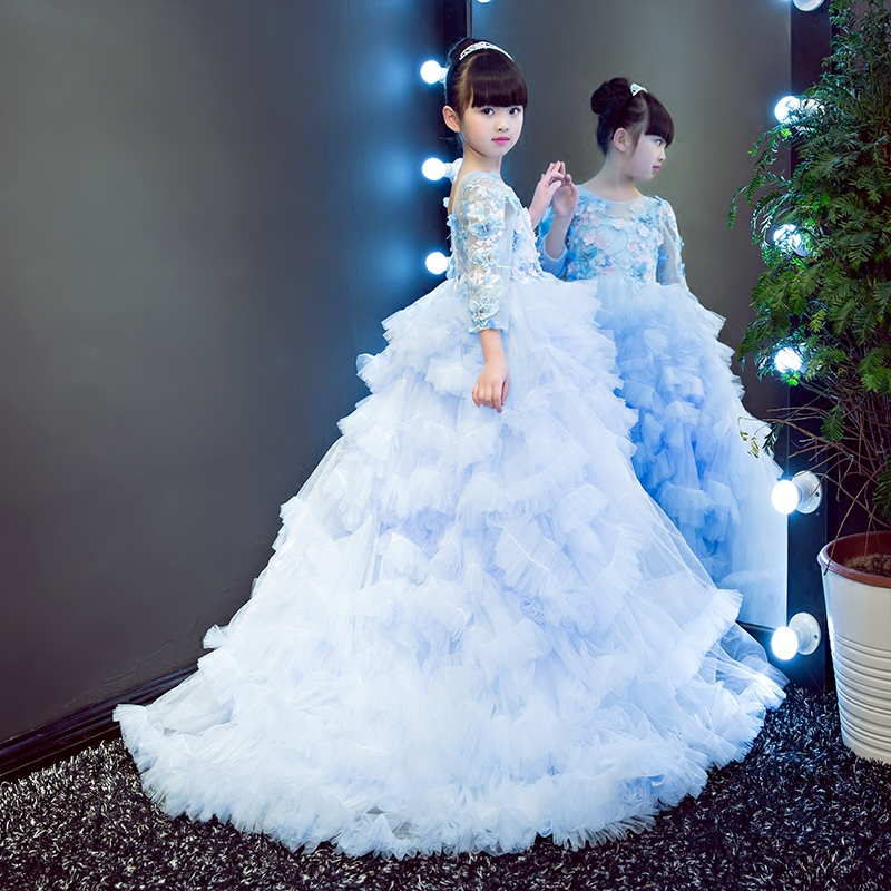 цена Kids dress up for girls princess with long sleeves communion dresses flower baby girl ball gown wedding long tail dress QY127