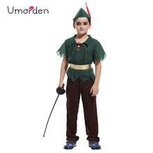 Umorden Purim Carnival Halloween Costumes Kids Children Green Forest Peter Pan Costume for Boy Boys Party Dress Up