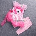 2017 nova fashion girl cor gaze vestido tutu meninas my pony crianças terno dos desenhos animados da princesa bebê rendas de lantejoulas vestido de Lazer Conjunto de roupas