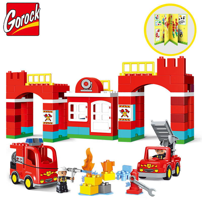 Gorock 109PCS/SET City Fire Station Model Large Particles Building Block Fireman Figure DIY Brick Kid Toy Compatible With Duploe kid s home toys brand large particles city hospital rescue center model building blocks large size brick compatible with duplo