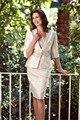 Frete grátis New Arrival elegante Plus Size Lace curto mãe da noiva vestidos vestidos com Bolero Jacket frisada Custom Made