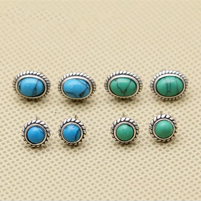 Винтаж одноцветное 925 серьги стержня стерлингового серебра Для женщин с голубой/зеленый камень Handmde серебро 925 ювелирные изделия просто кра...
