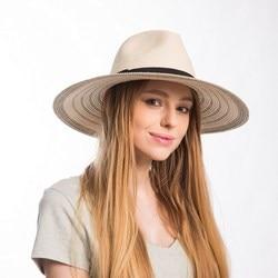 Muchique summer panama fedora for women striped large brim floppy paper straw sun hats with black.jpg 250x250