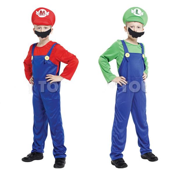 Envío gratis kids super Mario trajes/trajes de cosplay para niños/cosplay de halloween para niños/niños cosplay disfraces