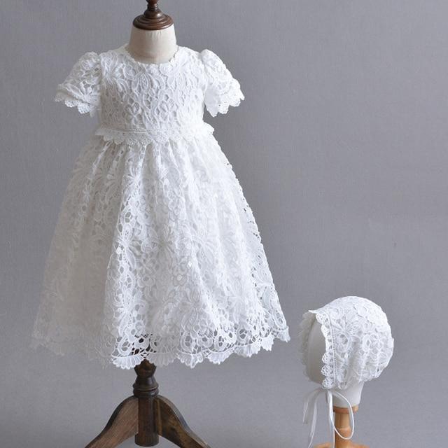 19bdf90af Blanco recién nacido vestido de princesa bebé niña bautismo vestidos de  bebé vestido de 1 2 años cumpleaños largo bebé bautizo