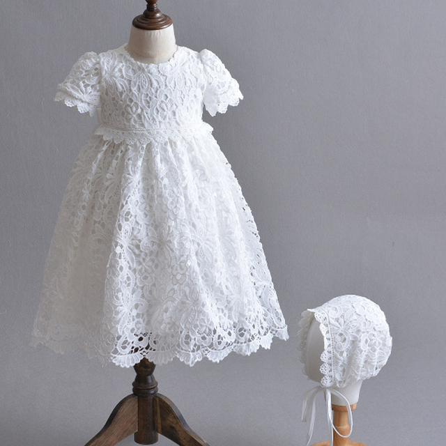 8ba8d4b9c Blanco recién nacido vestido de princesa bebé niña bautismo vestidos de bebé  vestido de 1 2