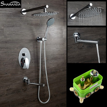 Free Shipping Embedded Box Mixer Valve In-Wall Shower Set SUS Oval Rainfall Shower Head Bathroom Products