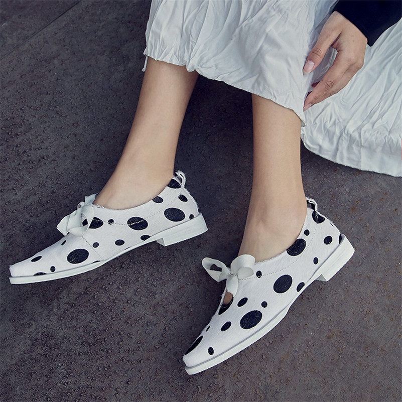 Pumps Casual-Shoes Low-Heels Polka-Dot Women New Horsehair Dilalula-Brand Bowtie