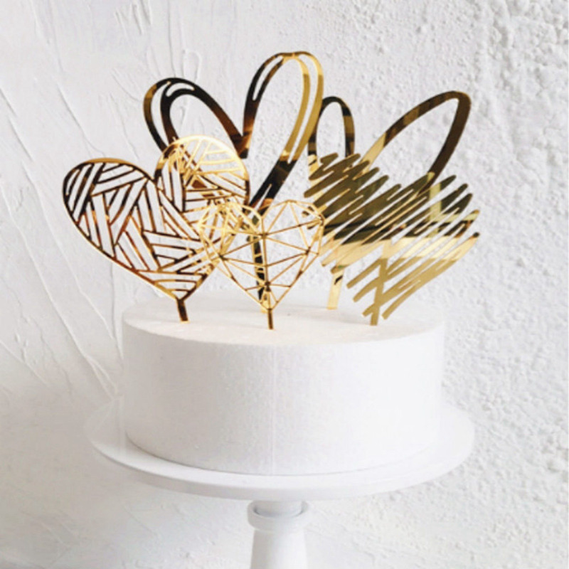 Gold Silver Acrylic Heart Collection Cake Topper Dessert Decoration For Birthday Party Lovely Gifts Insert Party Decor(China)
