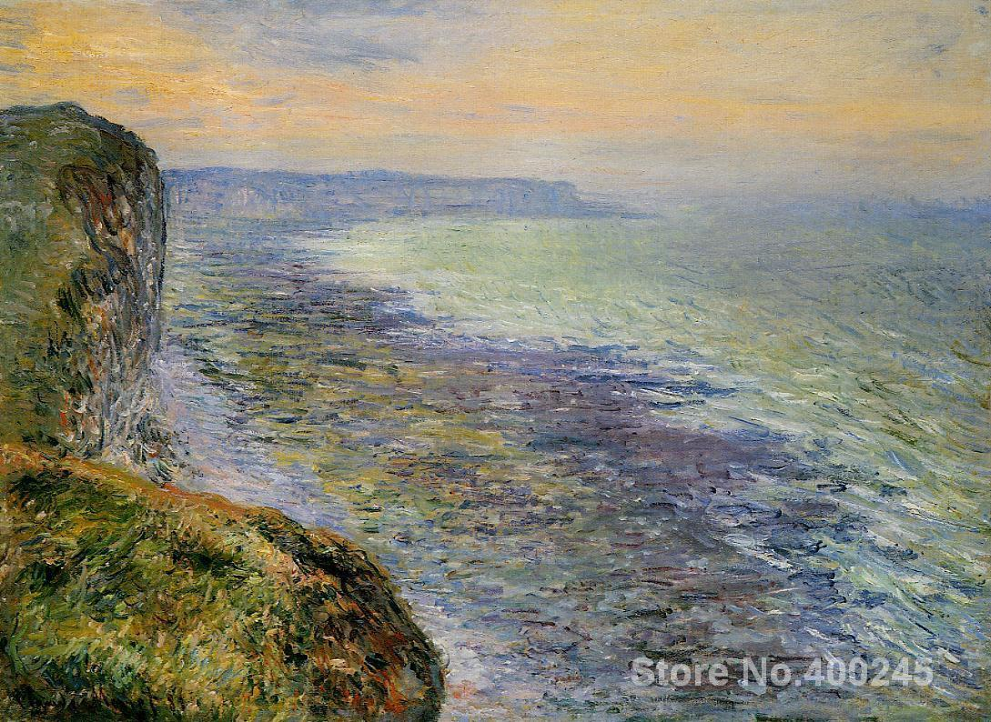 Christmas Gift art on Canvas Seascape near Fecamp by Claude Monet Painting High Quality Handmade