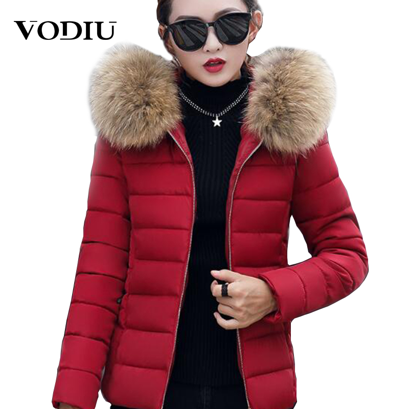 Women Winter Coats Short Fur Collar Plus Size Parka Hooded Slim Korean Jacket For Female Cotton Winter Parka Down Basic Jackets