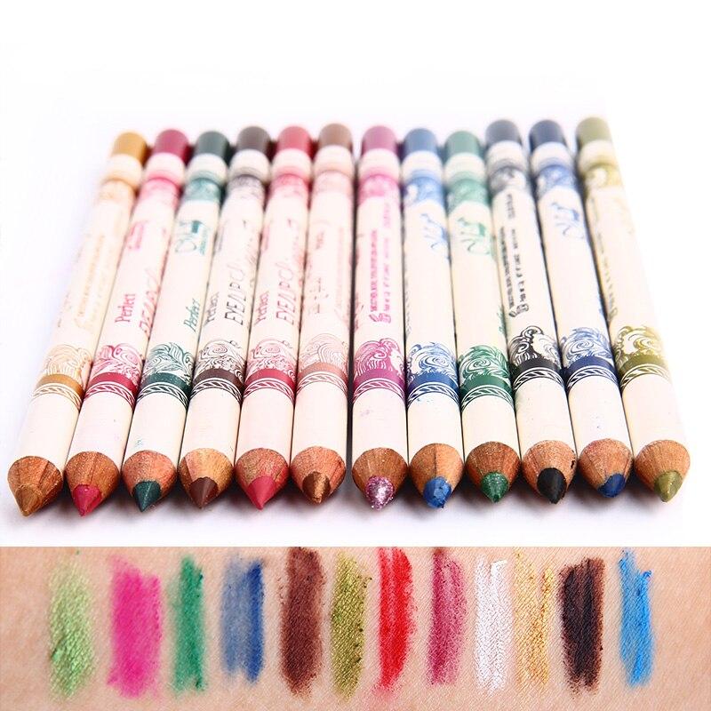 12PCS/Set 2 in 1 Eyeliner 12 Colors Lip Pencil Long-lasting Waterproof Makeup Cosmetic Set Eye Liner