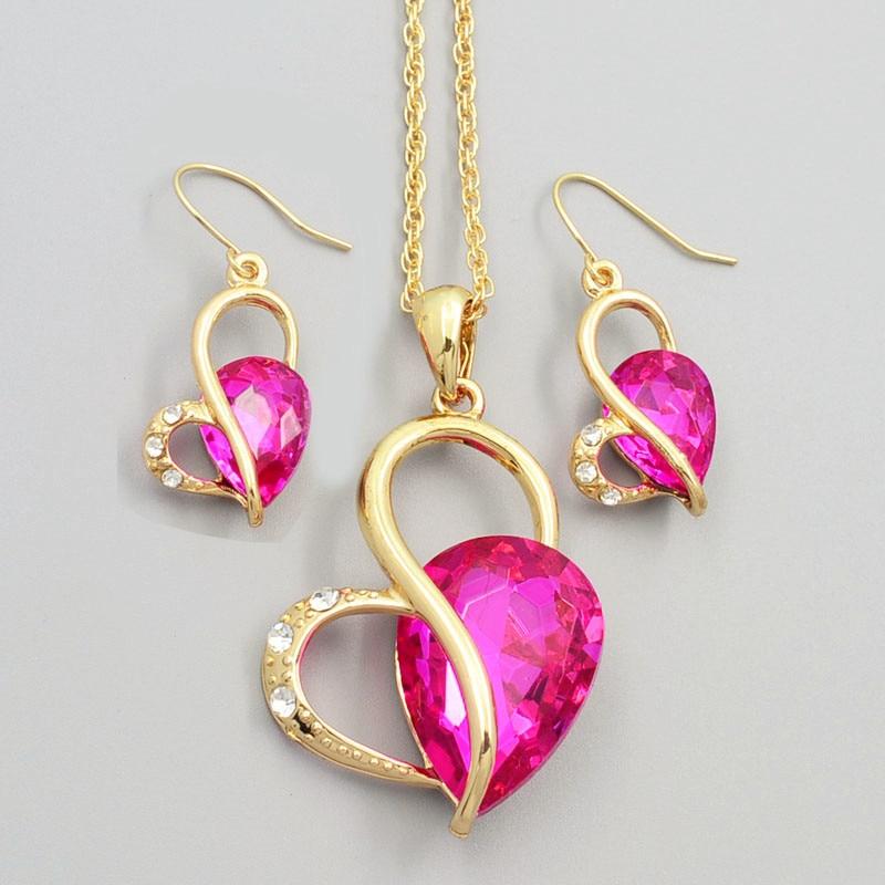 Новая мода свадебный комплект ювелирных изделий сердце кристалл камень ожерелье серьги набор Верхнего качества подарок для женщин дамский S726