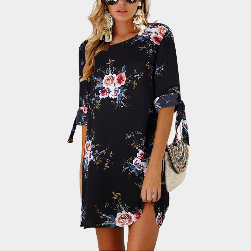 Women Summer Dress Boho Style Floral Print Chiffon Beach Dress Tunic Sundress Loose Mini Party Dress Vestidos Plus Size 5xl #4
