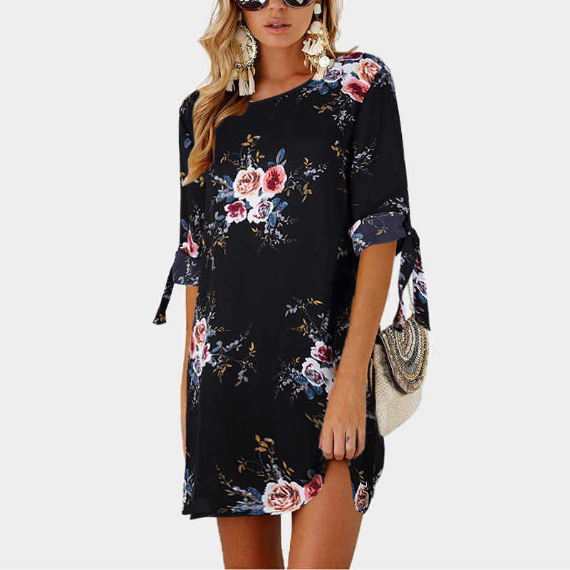 2019 женское летнее платье бохо, стильное шифоновое пляжное платье с цветочным принтом, сарафан-туника, свободное мини-платье для вечеринки, платья, большие размеры 5XL