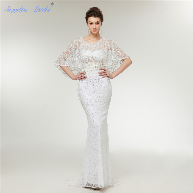 Saphir mariée arabe Robe De soirée blanc Cap manches sirène Sexy dentelle avec d'énormes perles robes De soirée formelles 2019
