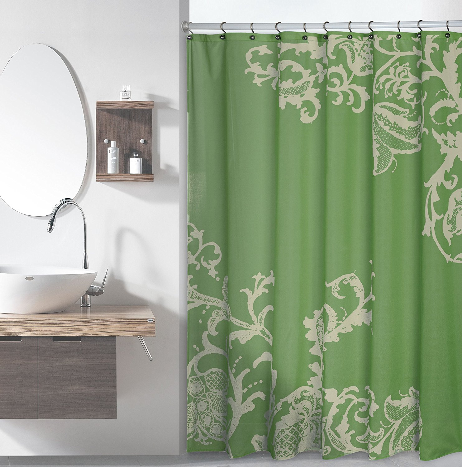 Us 18 63 Warm Tour Luxury Shower Curtain With Floral Pattern Sage Fashion Shower Curtain Hotel Bathroom With Hooks Ring72 X72 Inch In Shower