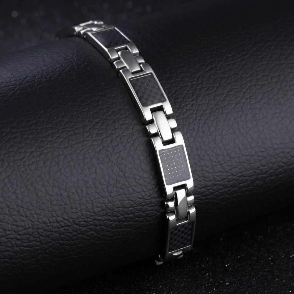 TrustyLan 9MM Wide Power Increase Magnetic Mens Bracelets 2018 Jewelry Black Stainless Steel Health Bracelet Gifts For Men