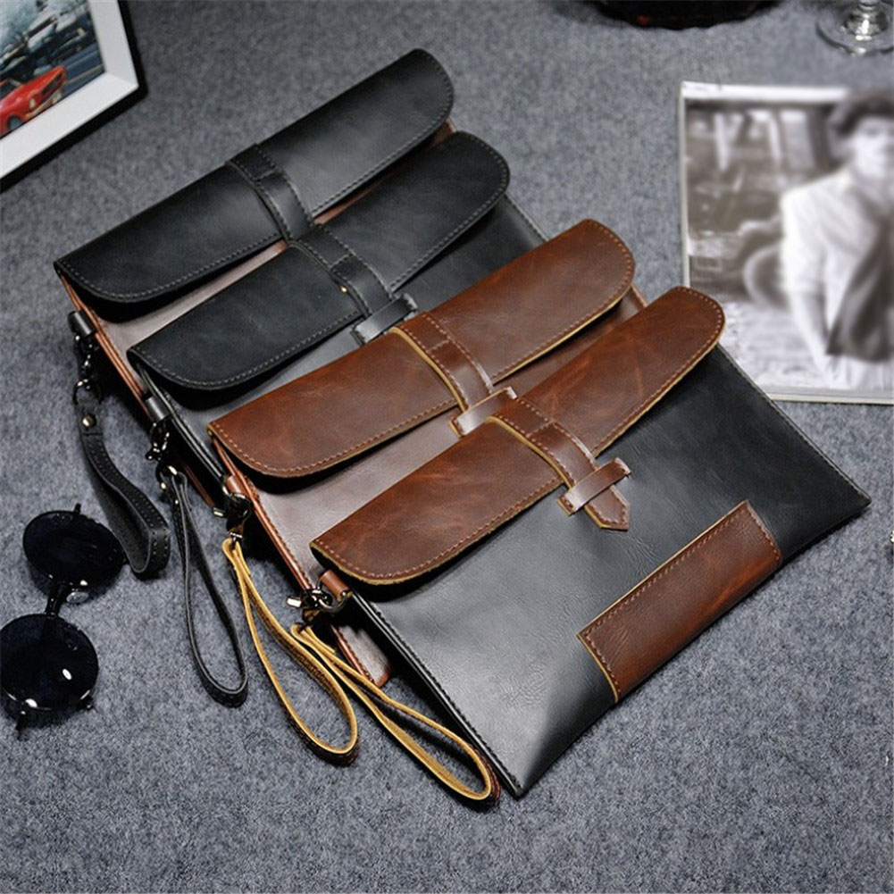 Hot Sale Men PU Leather Business Work Handbag 2018 New Fashion Male Solid Color Envelope Bag Briefcase