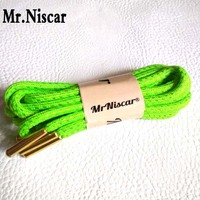 Mr Niscar 1 Pair Metal Head Gold Wire Green Round Shoelaces Basketball Athletic Running Shoe Laces