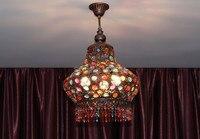 Böhmen Vintage Mittelmeer Farbigen Kristall lampe Romantik Deckenleuchte LED hängeleuchte Für Cafe Bar Lagerhalle Club-in Deckenleuchten aus Licht & Beleuchtung bei