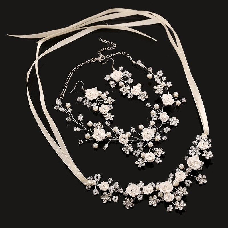 3 ks Svatební šperky sady velkoobchod květin náhrdelník náušnice ručně svatební doplňky perlové šperky set