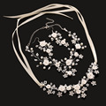 3 piece Bridal jewelry sets wholesale flower necklace earrings handmade wedding accessories pearl jewelry set
