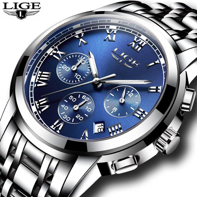 2017 nuevos relojes hombres de lujo marca LIGE cronógrafo hombres relojes deportivos impermeable cuarzo de acero completo reloj de los hombres Relogio Masculino