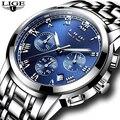 2020 новые часы Мужские люксовый бренд LIGE Хронограф Мужские спортивные часы водонепроницаемые полностью Стальные кварцевые мужские часы ...