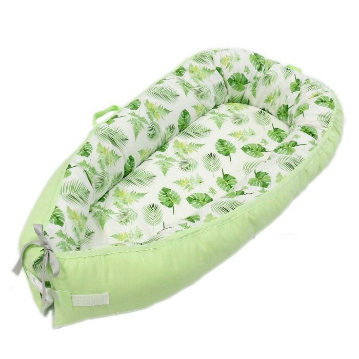 Детская кроватка-гнездо переносная съемная и моющаяся кроватка дорожная кровать для детей Младенческая Детская Хлопковая Колыбель - Цвет: Green Leaves