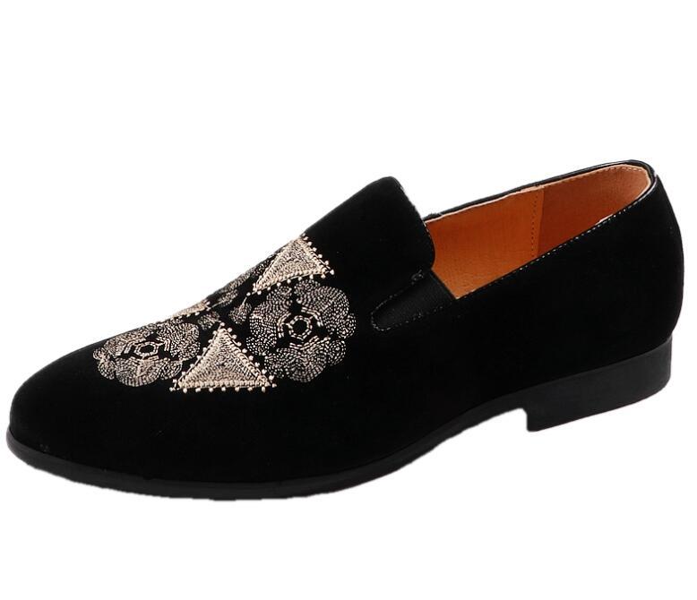 Nouveau hommes mode velours or broderie mocassins bout pointu sans lacet plat chaussures décontractées conduite velours chaussures noir mocassins 38-44