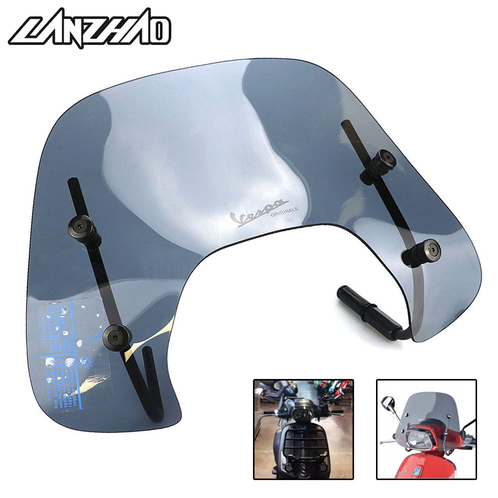 Motorcycle Windshield Windscreen Air Deflector Smoke Black Scooter Accessories for Piaggio VESPA Sprint 150 2017 2018 mobile phone