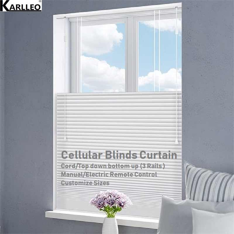 Blackout Cellular Honeycomb Blinds Shades Curtain Cord,top down bottom up Customize Sizes Manual or Motorized