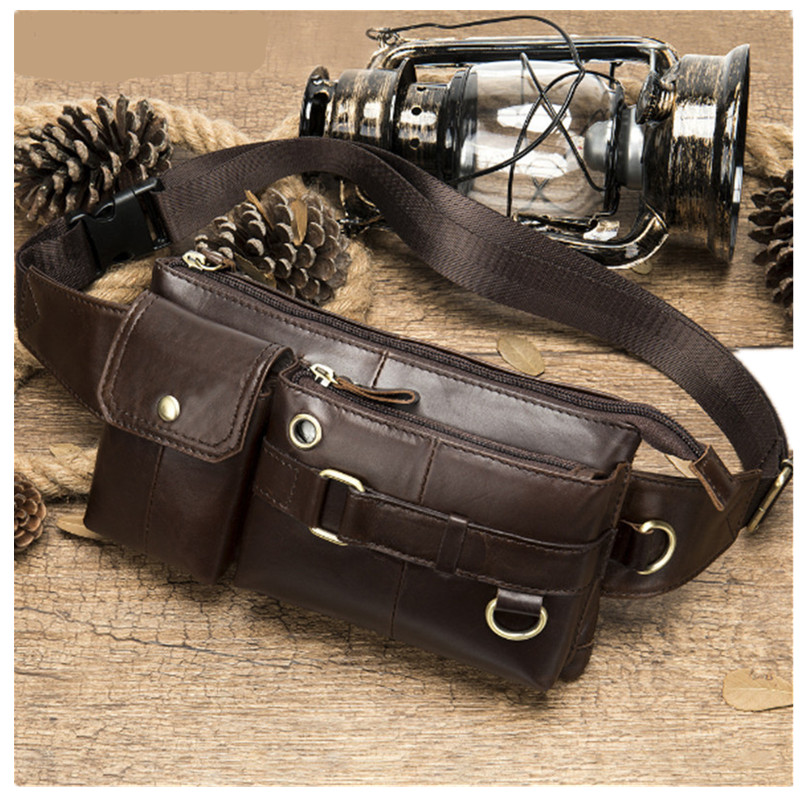 First layer cowhide men 39 s waist packs casual vintage multifunctional chest bag mobile phone bag in Waist Packs from Luggage amp Bags