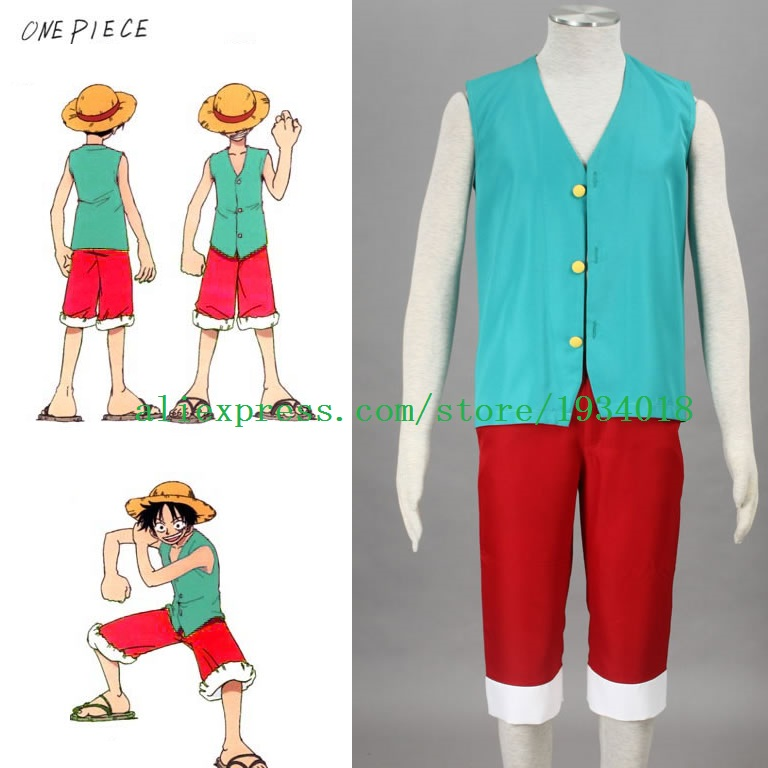 Top + Shorts + Hat Official Website Anime One Piece Monkey D Luffy Cosplay Costume Full Set Uniform For Adult Halloween Costumes Size S-xxl