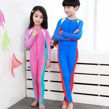 Long Sleeve Swimwear Diving Suit Wet Suit Rash Guard Kids Boys Girls Snorkeling Clothing Full Body Swimsuit Sun Protection Wear