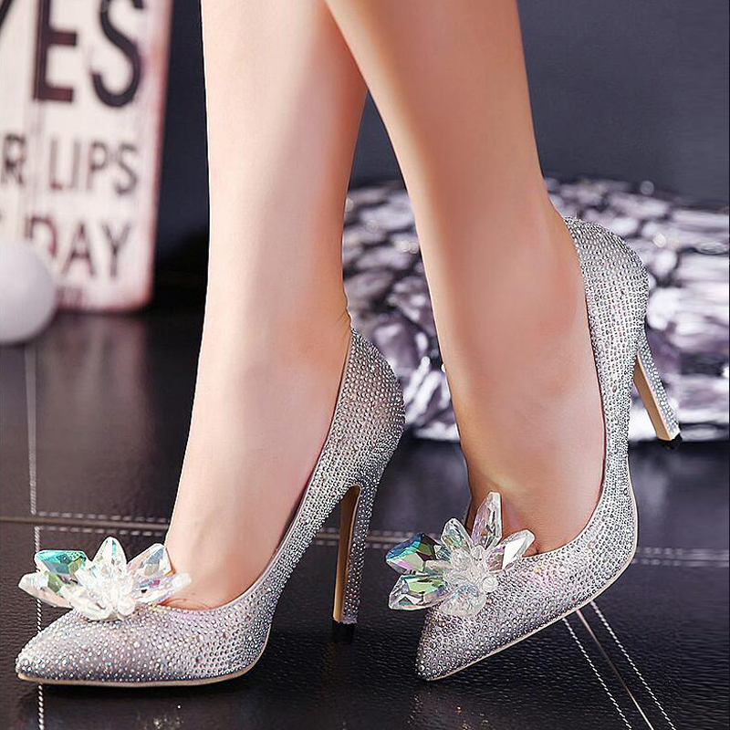 ФОТО Hot Sale Cinderella Shoes High Heels Pumps Ladies Women Wedding Party Shoes Rhinestone Butterfly Crystal Dress Thin Shoes 35-40